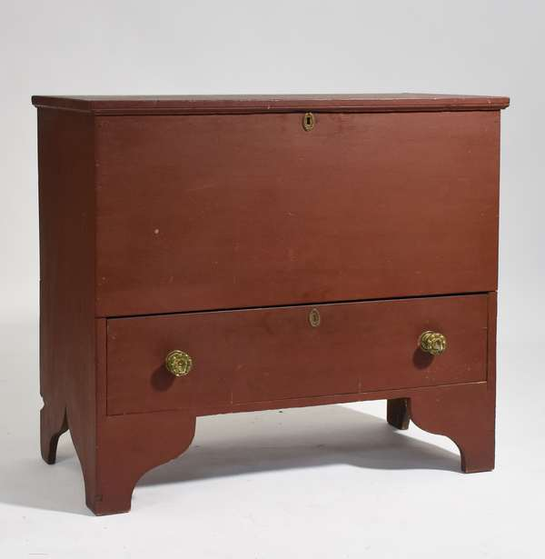 """Good clean early 19th C. New England one drawer blanket chest in old red paint, 39""""W. x 36""""H. x 18""""D."""