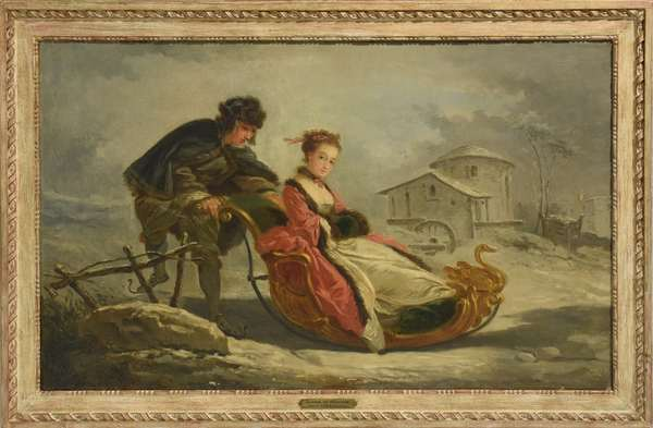 """18th C. French oil on canvas in the style of Boucher, winter scene with man on skates pushing elegant woman in sled, 23.5"""" x 39"""""""