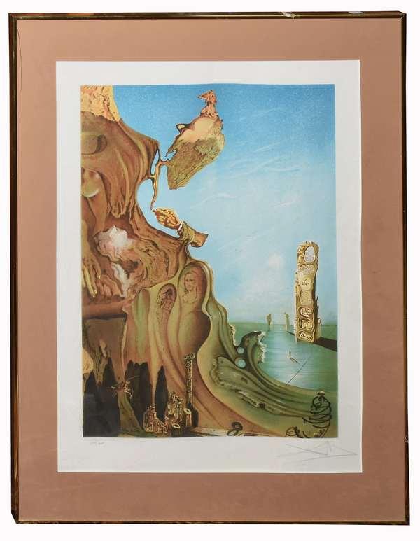 "Framed Salvador Dali lithograph, 23"" x 17"" image size"