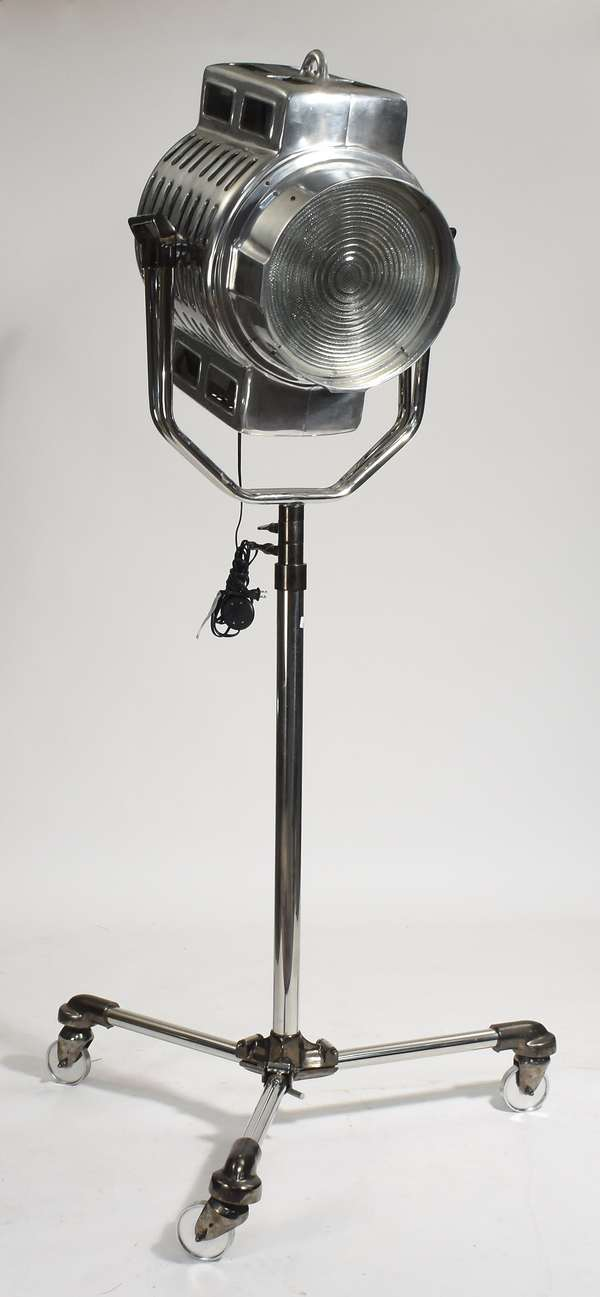 """Contemporary chrome stage spotlight on rolling base, 80""""H."""