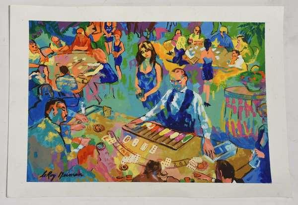 "Acrylic on paper, ""Black Jack Game"", signed Leroy Neiman, 10"" x 13.5"""