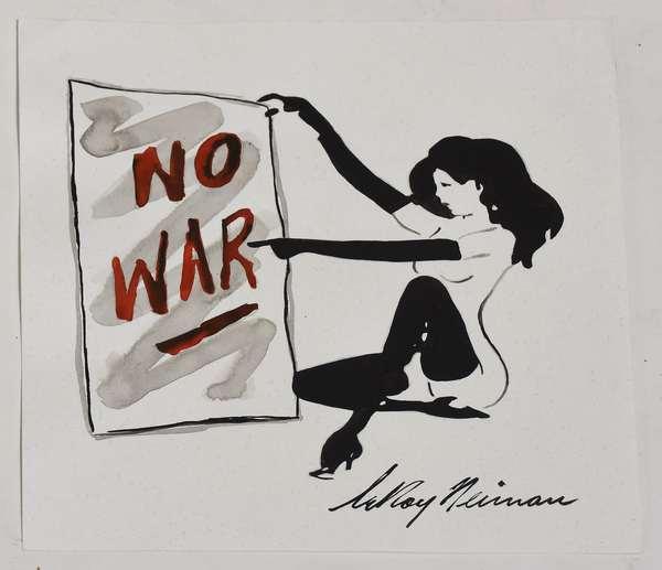 "Ink on paper, Femlin, ""No War"", signed Leroy Neiman, 9.5"" x 9"""