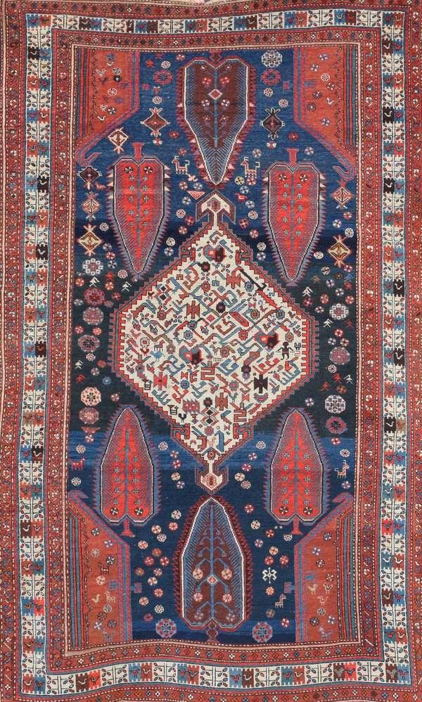 """Fine antique Oriental rug, 4'4"""" x 7'10"""""""