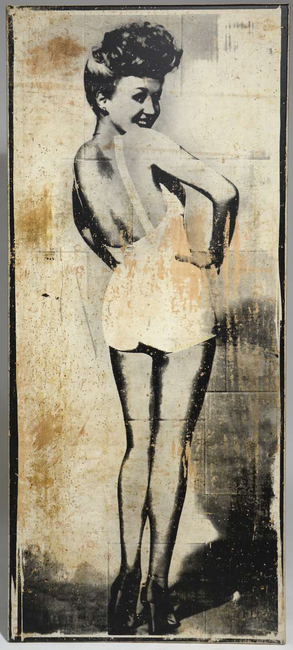 """A pop construction by VT artist Dave Laro titled """"The Thing About Betty"""", this is 1 of 3 screen printings of the iconic Betty Grable image which is applied to a reclaimed wood panel, the other two works are on public display in WRJ, VT signed and titled on back."""