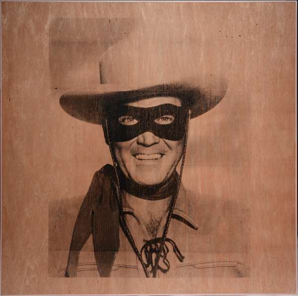 """A pop construction by VT artist Dave Laro titled """"Pop Shot"""" a screen print of an iconic mid-century image of The Lone Ranger applied to wood panel in a custom frame, the first offering to market. 48"""" x 48"""" signed and titled on back"""