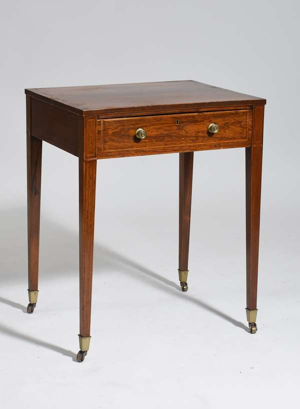"""Fine English rosewood Hepplewhite one drawer stand with caster feet ca.1800, 28""""H. x 22""""W."""