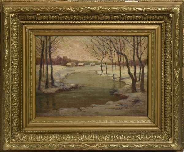 "Oil on board, winter landscape CT, signed F.J. Boston, 13"" x 17"""