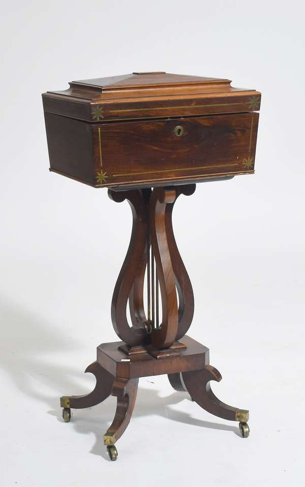 """English Regency brass inlaid rosewood tea caddy with fitted interior ca.1820, 33""""L. x 16""""W."""