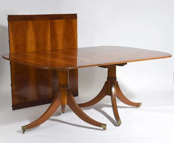 """Clean double pedestal yew wood dining table with two leaves, 30""""H. x 47""""D. x 10'L. (with leaves)"""