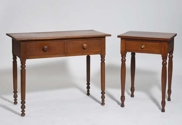 """Two Sheraton cherry tables: two drawer server 36""""L. x 29""""H. with a one drawer stand, 29""""H. x 20""""W. ca.1820's"""
