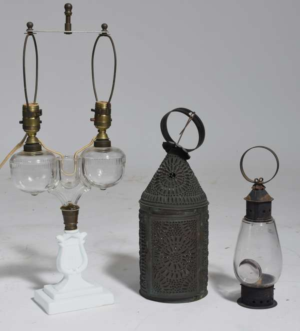 Lighting lot, 19th C. marriage lamp with Revere lamp and bullseye lamp (9,34)