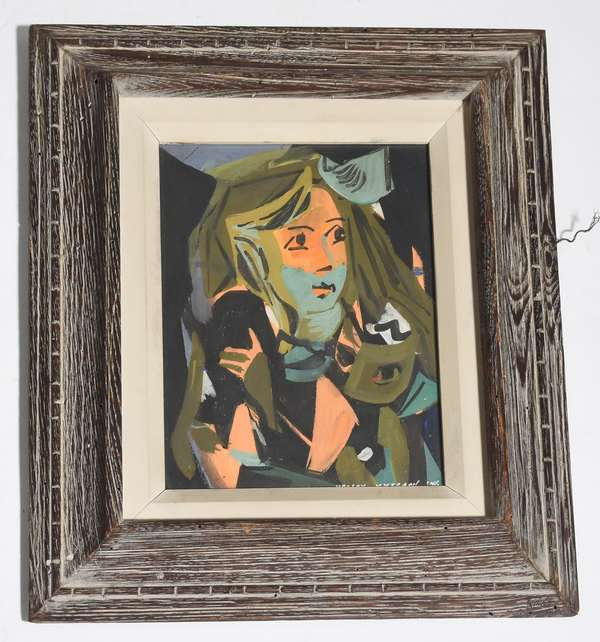 """Painting-watercolor gouache, girl, signed Vaclav Vytlacil, 11"""" x 8"""""""