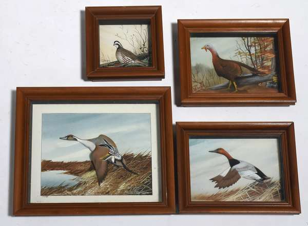 """Set of four painted bird dioramas by Joseph Q. Whipple, 5"""" x 5"""" up to 9"""" x 10"""""""
