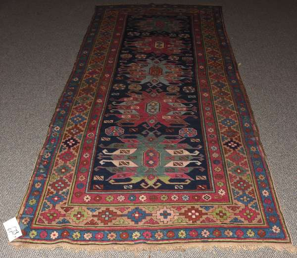 """Oriental rug, hall size, five  medallions, 4' x 10'3"""""""