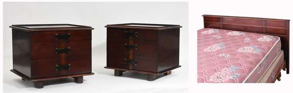 """Pair of Paul Frankl """"Station Wagon"""" mahogany end tables each with three drawers, 22""""W. x 21""""H. x 20""""D. along with matching """"Station Wagon"""" bed"""