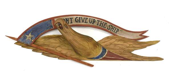 """Painted wooden Bellamy style eagle with inscription """"Don't Give Up The Ship"""", 26""""L. x 9""""H."""