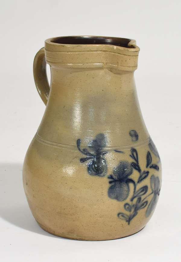 "Large Pennsylvania stoneware handled batter jug with cobalt blue floral design, 13.5""H. x 10""Dia."