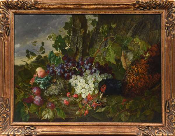"""Finely detailed 19th C. oil on canvas, outdoor still life featuring pheasant, grapes, bird's nest, other fruit, signed lower left W.H. Ward, (U.K., 1850 - 1882), 19.5"""" x 26.5"""""""