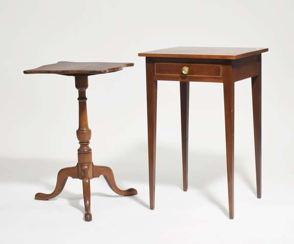 """Two fine period stands: inlaid Hepplewhite mahogany one-drawer stand on delicate tapered legs, banded inlay on drawer front, 18""""W. x 18""""L. x 29""""H., with a Queen Anne maple candlestand with shaped serpentine top, 15.5""""L. x 15.5""""W. x 26""""H."""