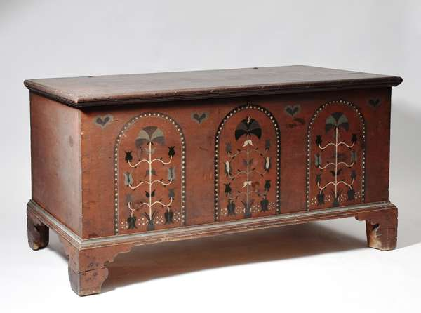 """Chippendale Pennsylvania paint decorated dower chest in red with black, green and white decoration, on bracket base, ca. 1780-1800, 48""""L. x 25.5""""H. x 21""""D."""