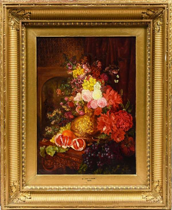 """Good 19th C. oil on board signed lower right E. Van Loos, still-life with fruit and flowers in golden vase featuring biblical story of Eleazar's exploit, after engraving by Bernard Picard, 15.75"""" x 11.25"""""""