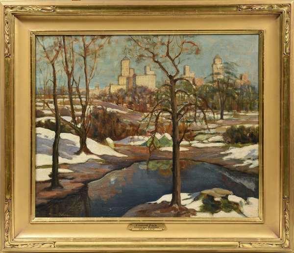 "Oil on canvas signed lower left George Beline, ""Central Park"", 25"" x 30"""