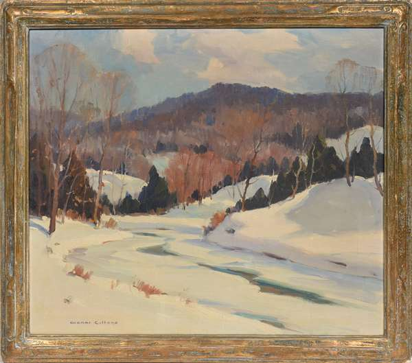 """Oil on canvas signed lower left Gianni Cilfone (Chicago, 1908 - 1992), VT winter landscape titled """"Northern Vermont"""", with 1944 Bethel Inn Exhibition label on reverse, 22"""" x 25"""""""