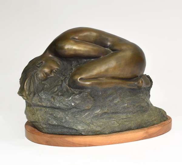 """Large bronze of nude woman, """"The Awakening"""", signed Huberto Maestas, numbered 3/21, 29""""L. x 18""""H. x 15""""W."""