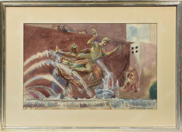 """Watercolor signed lower right James Montgomery Flagg (New York, 1877 - 1960), titled """"In Rockefeller Plaza"""", featuring the Prometheus fountain, 14.5"""" x 21.25"""" sight size"""