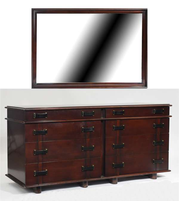 """Paul Frankl """"Station Wagon"""" mahogany double dresser, with eight drawers, Johnson Furniture Co. stamp and John Stuart Inc. label inside drawer, 64""""L. x 32""""H. x 21""""D. along with matching mirror"""