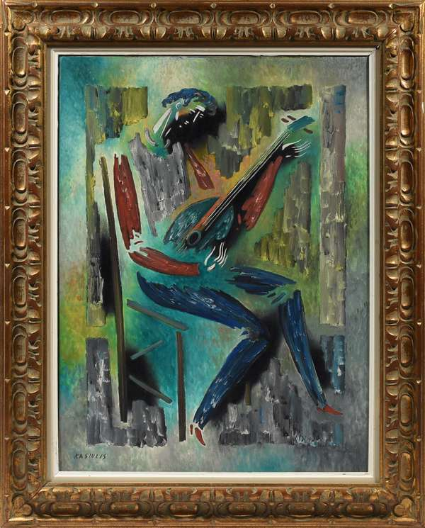 """Mid-Century oil on canvas signed lower left Kasiulis (Vytauta Kasiulis, 1918 - 1995, Lithuania), the lute player, 29"""" x 21"""""""