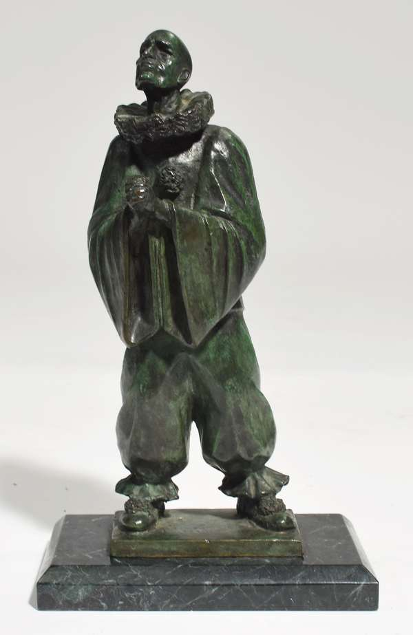 """Bronze sculpture of jester with clasped hands, signed Joe Brown (Pennsylvania, 1909 - 1985) dated 1979, on marble base, 11""""H. x 4""""W."""