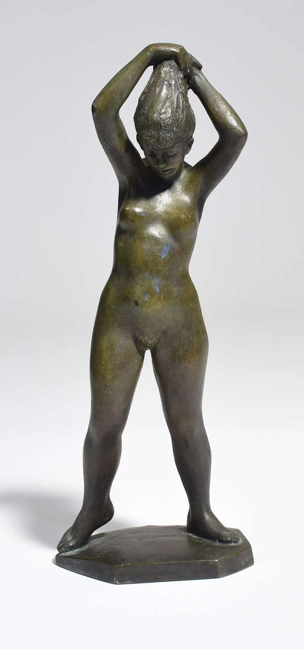 """Bronze sculpture of nude woman doing her hair, said to be artist's wife, signed Joe Brown and dated 1967, 14""""H. x 5.5""""W."""