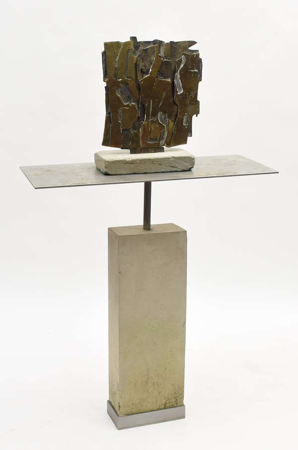 """Pietro Consagra abstract geometric bronze sculpture, signed """"Consagra '61"""", unique small size, set on cement base, 15""""H. x 14""""W. along with a steel and cast stone pedestal"""