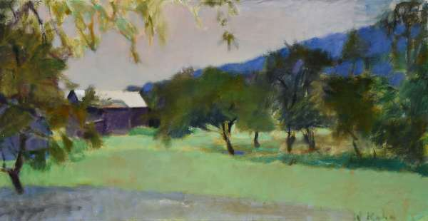 """Oil on canvas signed lower right W. Kahn (Wolf Kahn, Vermont, Germany, b. 1927), titled on stretcher """"Barn With a White Roof"""", dated 1985, 22.5"""" x 42.5"""". Provenance: Promfret VT collection, the owner was a friend of Wolf Kahns."""