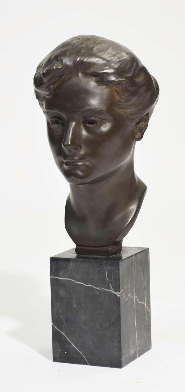 """Bronze bust of young lady signed Mabel Conkling (New York, 1871 - 1966), on black marble base, with Gorham Co. Founders stamp, 14""""H. x 8""""W."""