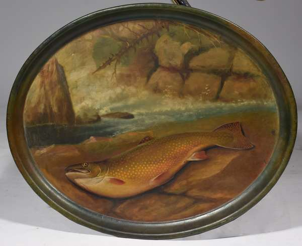 """Large oval tin tray painted with scene of trout on river bank by Sid Bickford, 20.5"""" x 25.5"""", Provenance: Bickford would stay with the consignor's grandmother (Mrs. Davis), in Lempster NH and gave these trays as a thank you."""