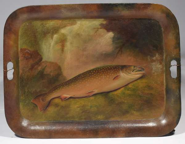 """Large rectangular tin tray painted with scene of trout on river bank, attrib. to Sid Bickford, 18.5"""" x 24"""", Provenance: Sid Bickford would stay with the consignor's grandmother (Mrs. Davis), in Lempster NH and gave these trays as a thank you."""