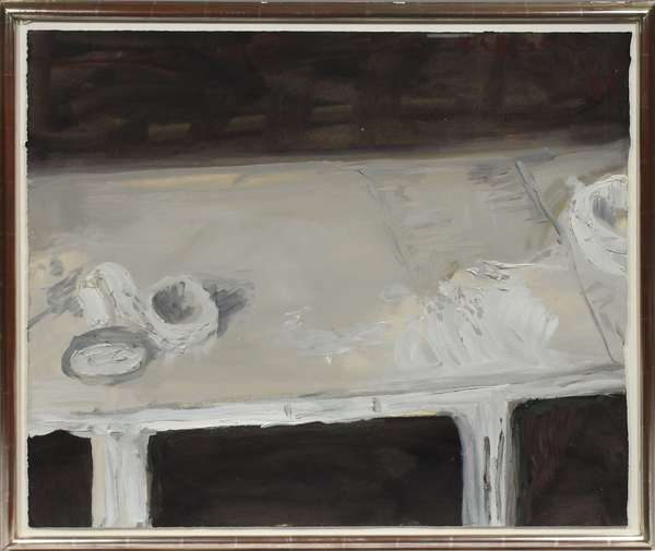 """Oil on paper signed upper right Fussmann (Klaus Fussman, Germany, b.1938), tabletop still-life in black and grey, dated '88, 35.5"""" x 29.5"""""""
