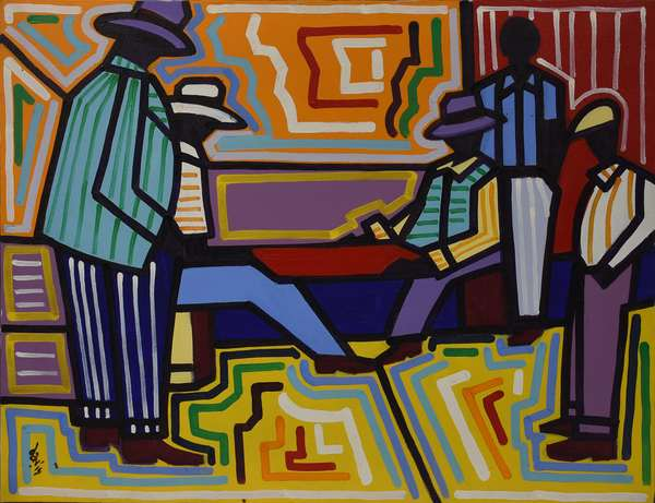 """Oil on canvas signed lower left Davis (Nicholas Davis, New York City, b.1937), """"The Checker Players"""" with artist's label on reverse, 22"""" x 28"""""""