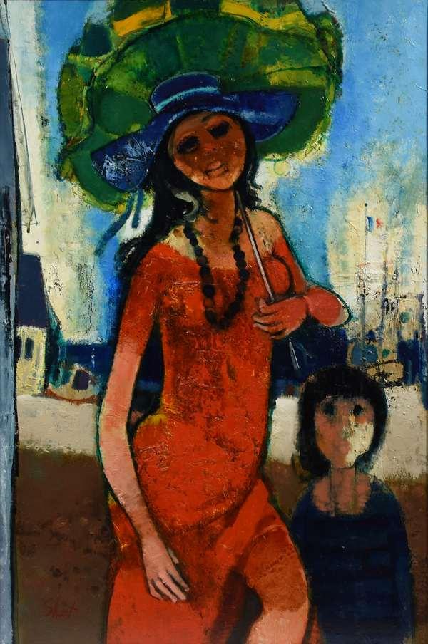 "Oil on canvas signed lower left Shart (Serge Shart, Lebanon, 1927 - 2011), titled on reverse ""Jeune Fille a L'ombrelle"", Sept. '71, 39"" x 29.5"""