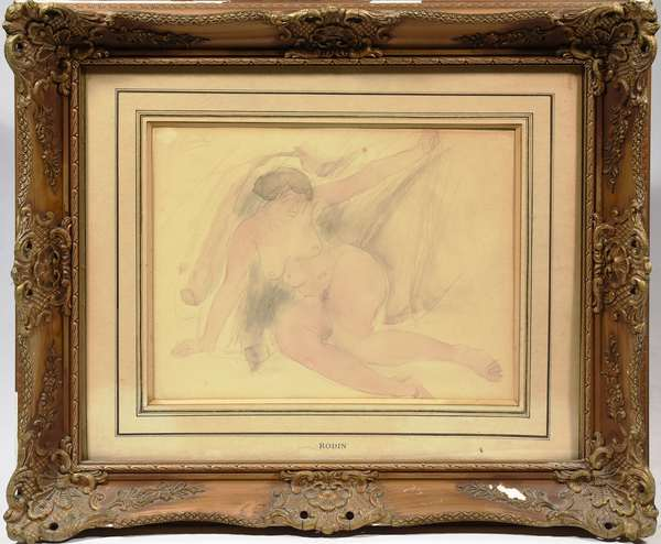 """Graphite and watercolor sketch of sitting nude, signed upper left Rodin, 10.5"""" x 14"""" sight"""