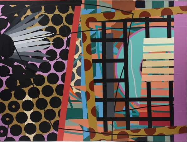"""Colorful geometric abstract oil on canvas signed on reverse Steve McCallum (US, b.1951), titled """"Modest Safari"""" 1998, 36"""" x 46"""""""
