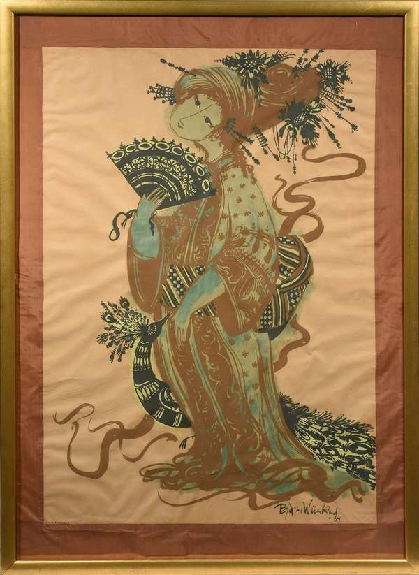 """Bjorn Wiinblad silkscreen, woman with peacock, signature lower right with date '54, printed by T.T. Silketryk, 47.5"""" x 32"""""""