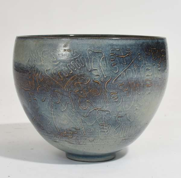 """Large Scheier pottery bowl with incised abstract decoration, in blue sea foam glaze, signed on bottom, 10.5""""Dia. x 9""""H."""