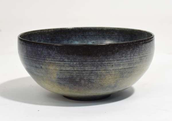 "Scheier pottery bowl in blue sea foam glaze, signed on bottom, 9.5""Dia. x 4.5""H."