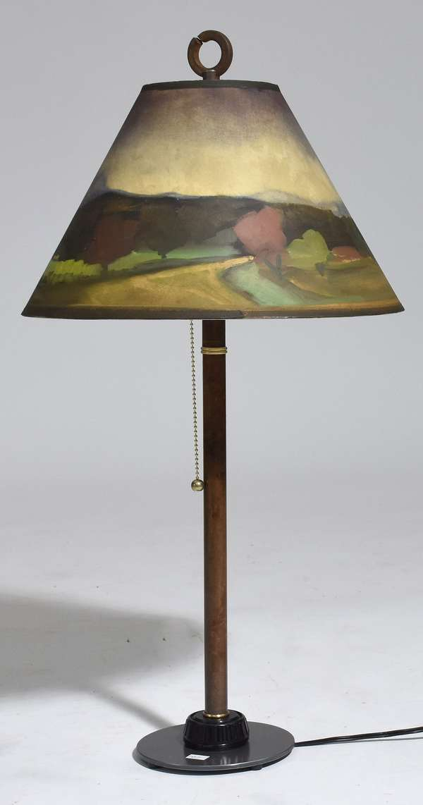 """Construction table lamp by Ken Blaisdell made of reclaimed objects with signature Lampscapes oil painted shade depicting White River Jct, VT scene (same perspective as previous lot) 27""""H. - signed"""