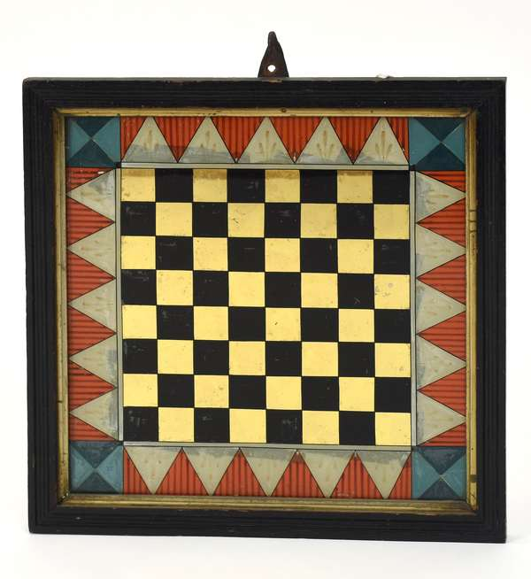 """19th C. reverse painting on glass game board in a period frame, 16.5"""" x 16.5"""" overall size"""