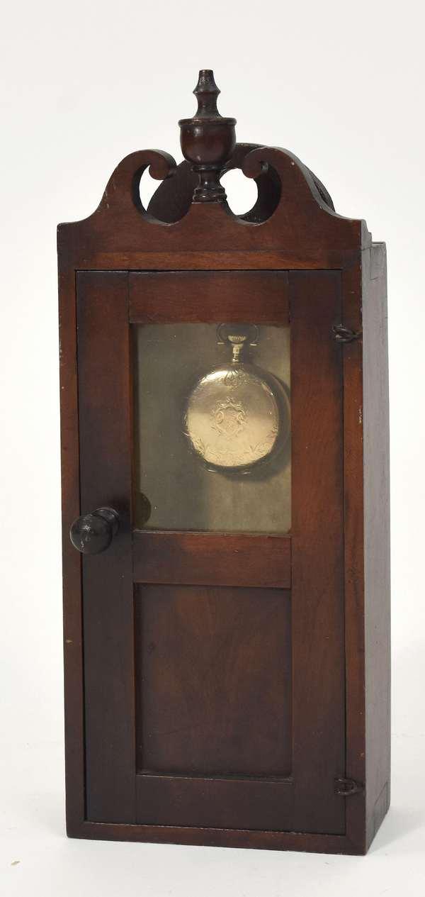 """Early 19th C. Federal maple/mahogany watch hutch, 13""""H. x 5""""W."""