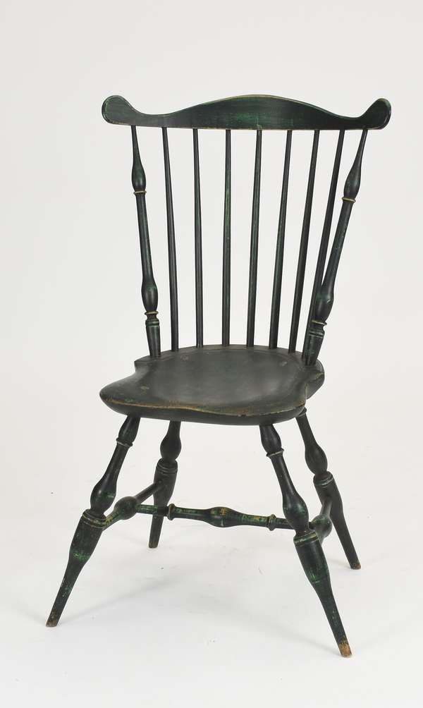 """18th C. New England fan back Windsor chair with great form in green paint, 18"""" seat height, back 38""""H."""